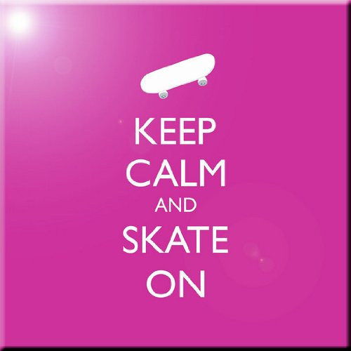 Rikki Knight Keep Calm and Skate On-Skateboard-Pink Rose Color Design Ceramic Art Tile, 12' x 12'
