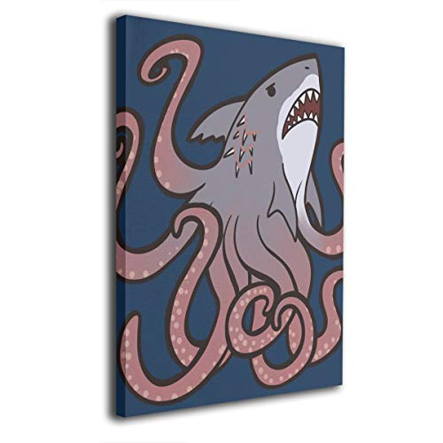 Warm-Tone Art Sharktopus Canvas Prints Wall Art Oil Paintings for Living Room Dinning Room Bedroom Home Office Modern Wall Decor 16x20 Inch]()