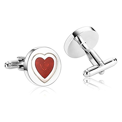 Aooaz Mens Cufflinks Stainless Steel Round Heart Shirt Silver Red Cufflinks Suit Mens Xmas Gift Box