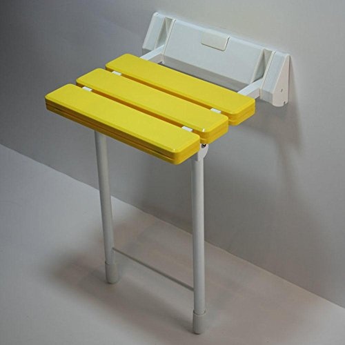 TSAR003 Aluminum Alloy And Abs Bathroom Folding Shower Seat Wall Mounted ?Height Adjustable?Specifically For The Elderly /Pregnant Women/Disabled People,12.9'' 12.6'', 330 Lb Load , Yellow by TSAR003