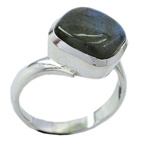 55Carat Natural Labradorite 925 Silver Ring For Women Square Shape Bezel Setting UK Size H-Z l4oeCbs