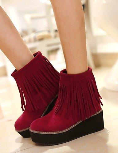 5 Redonda Beige Casual Xzz La Botas Moda Cn43 Black Uk8 Mujer Cn34 Zapatos Vellón Negro A 5 Plataforma Eu42 De Punta Vestido us10 Uk3 Red Rojo us5 Eu35 xXrq1nZX8
