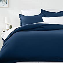 AmazonBasics Microfiber Duvet Cover Set - Full/Queen, Navy Blue