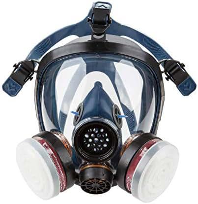 Induschoice Organic Vapor Full Face Respirator Mask Gas Mask Paint Pesticide Chemical Formaldehyde Anti Virus Respiratory Protection(Respirator +1 Pair LDY3 Cartridges)