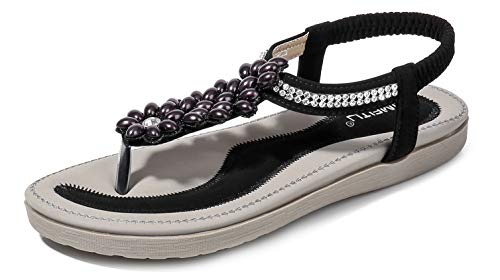 (Women's Blingbling Thong Flat Sandals, Black Holiday T-Strap Flip Flop Bohemia Rhinestones Pearl Gem Comfy Elastic Back Strap Cushion Low Top Beach Wear Shoe Back to School Summer Vacation Vintage)
