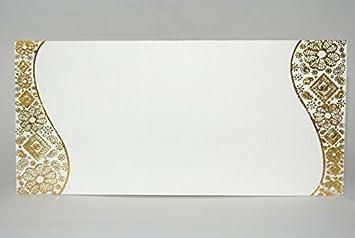 Gold Border Pack of 25 Asian Indian Money Gift Envelopes White ...