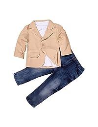 TONSEE 3 Pcs/set Kids Baby Boys Gentleman Coat+Shirt+Jeans Pants