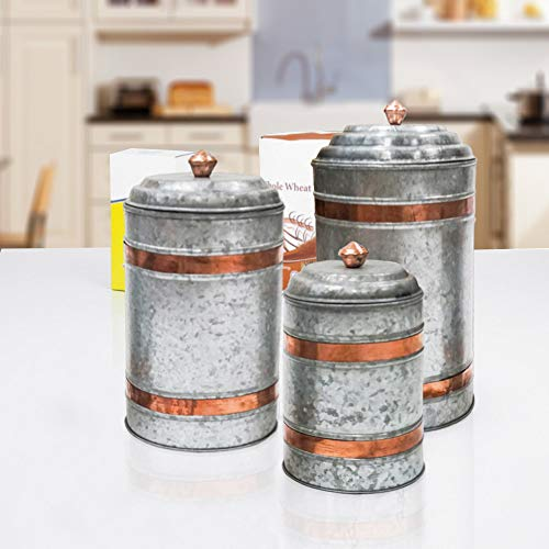 Antique Style Galvanized Metal Lidded Rustic Canister with Copper Band, Set of Three Farmhouse Home Decor Accents