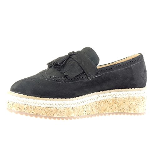 Angkorly Women's Fashion Shoes Mocassins Espadrilles - Slip-on - Perforated - Fringe - Pom Pom Wedge Platform 5 cm Black ZPS63Q1o