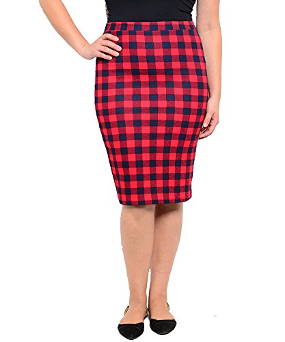 Plus Size Red Navy Plaid Skirt --Size: 1x Color: Red