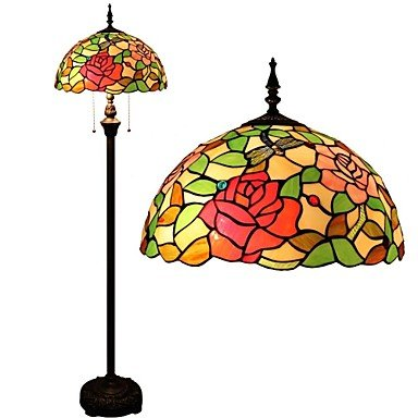 Rose And Dragonfly Tiffany Floor Lamp With Stained Glass And Glass Beads