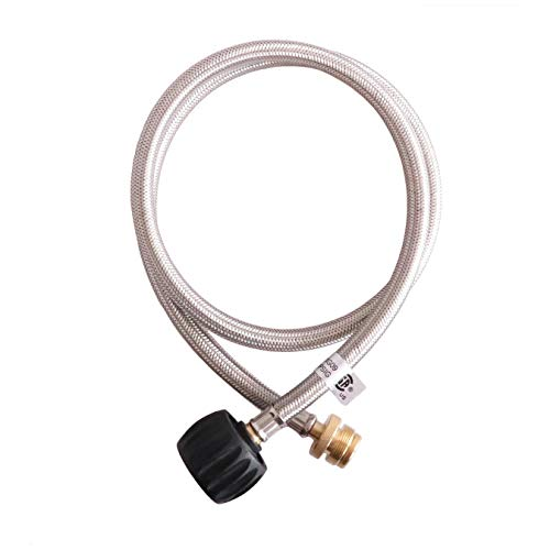 KIBOW Type 1(QCC 1) Propane Hose& Adapter/Connects 1LB Propane Tank Connector Appliances to a Refillable Bulk Propane Cylinder-CSA Certified (4FT Stainless Steel Braided Hose) - Stainless Steel Double Rubber