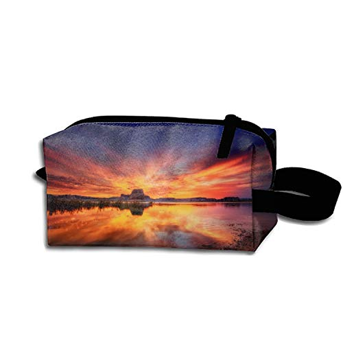 scakoko Cosmetic Bags Brush Pouch Ocean and Beach Landscape Photographs Portable Makeup Bag Zipper Wallet Hangbag Pen Organizer Carry Case Wristlet Holder