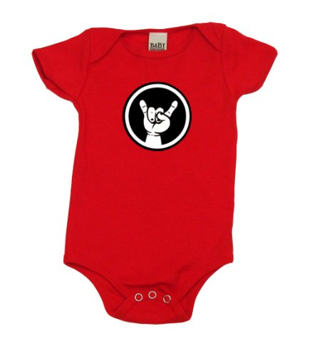 [Rocker Baby Hand Sign Cool Baby Bodysuit, 12-18 mo, Red] (Red Devil Outfit)