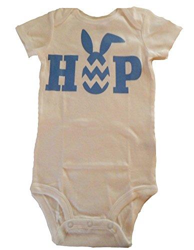 Custom Kingdom Baby Boys/Girls Hop Easter Egg and Bunny Romper Bodysuit White (18 Months)