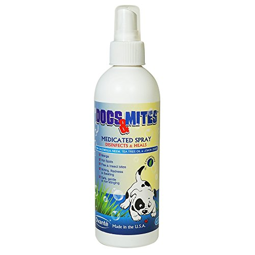 Dogs n Mites Therapeutic Spray – Treatment of Sarcoptic or Demodectic (demodex) Mange in Dogs and Puppies – Heals Hot Spots – Kills Demodex Mites – Anti Bacterial & Anti Fungal - Formulated with Tea Tree Oil, Neem, Lemon Grass & Calendula Extract – Safe and Effective 180 mL - 100%.