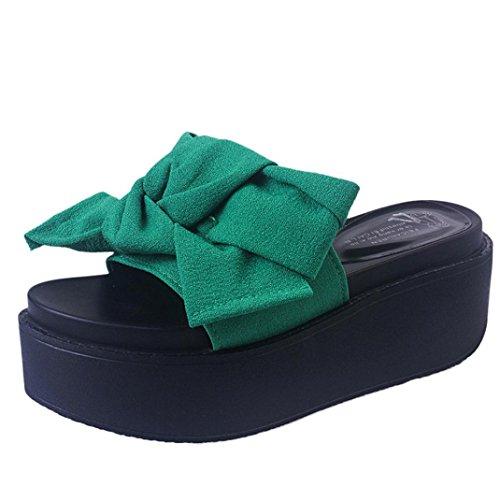Hunpta Frauen Comfy Plain Gummi Pantoffeln Flip Flop Bogen Sliders High Heel Sandalen Grün