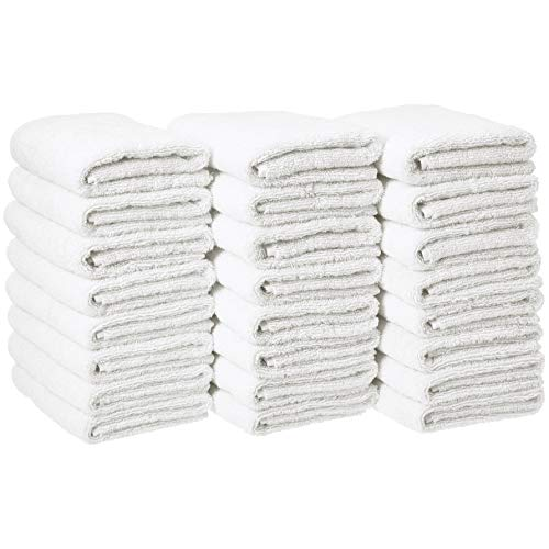 AmazonBasics Cotton Hand Towels - Pack of 24, White