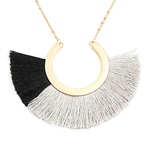 - RIAH FASHION Bohemian Fringe Tassel Pendant Statement Necklace - Silky Strand Semi Circle Thread Fan Charm Long Chain (Half Moon - Multi Gray)