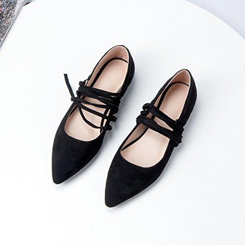 GAOLIM Solo Zapatos Hembra Con Punta Plana Correa Calzado Ligero Y Versátil Estudiantes Zapatos Zapatos De Mujer Zapatos Negro