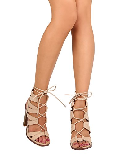 Liliana FA44 Women Faux Suede Peep Toe Strappy Lace Up Chunky Heel Sandal - Nude