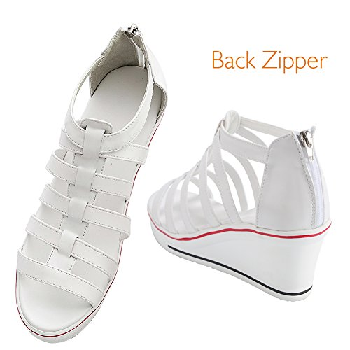Sneaker Damen Freizeit Sport Canvas sandalen für Keilabsatz Weiß Mädchen Weiß Schwarz Pink Schuhe Rot Qimaoo Schuhe dgwXqBB