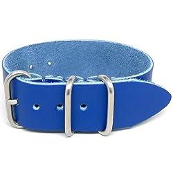 DaLuca 1 Piece NATO Watch Strap - Blue (Matte Buckle) : 22mm
