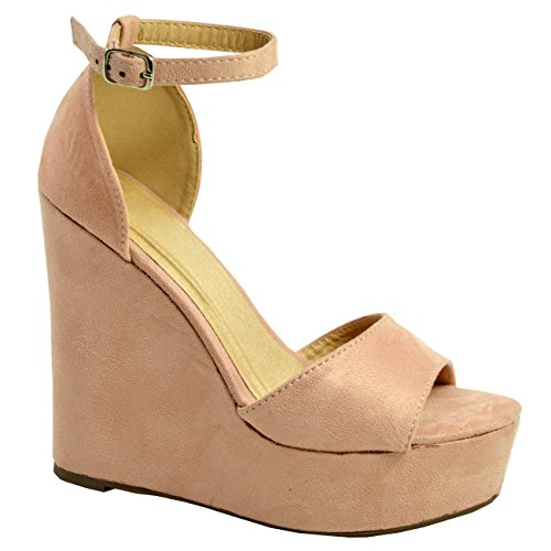 Pink Zapatos Correa de Tacones Blush cuña Nueva Plataforma mujer Peep de para tobillo Toe Sandalias altos ZTB1TR