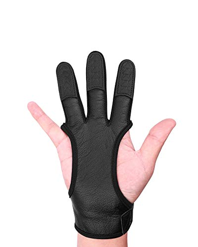 Seakcoik Archery Gloves, Genuine Leather Gloves with Three Finger for Recurve & Compound Bow, Hand Guard Protective for Men Women & Youth - M