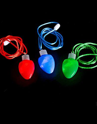 Set of 12 Flashing Light-up Blinking Christmas Bulb Pendant LED Costume Necklace