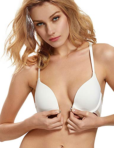 (DOBREVA Women's Front Closure T-Shirt Push Up Adds 1 Cup Size Underwired Bra Ivory_Smooth 34DD)