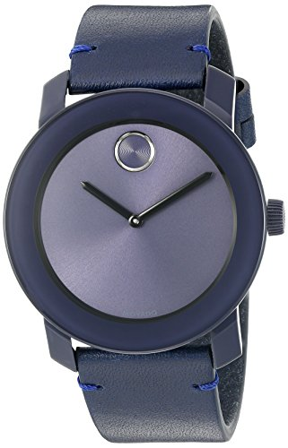 Movado Men's Swiss Quartz Stainless Steel and Leather Watch, Color: Blue (Model: 3600370)