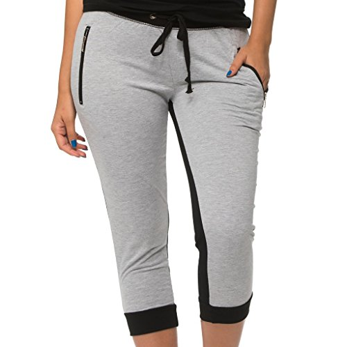 Coco-Limon Women Crop Jogger - French Terry Love Print Sweatpant, Heather Grey, Medium (Crop Pocket Ankle)