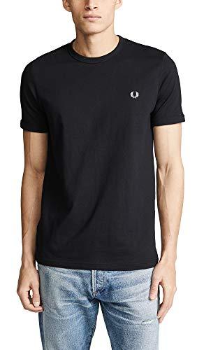 (Fred Perry Men's Ringer T-Shirt, Black,)