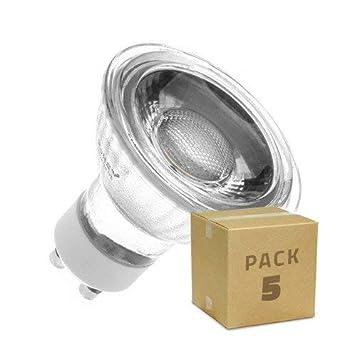Pack 5 Lámparas LED GU10 COB Cristal 220V 5W Blanco Frío 6000K efectoLED: Amazon.es: Iluminación