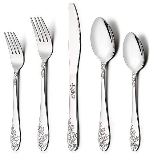 (LIANYU 40-Piece Silverware Flatware Cutlery Set for 8, Stainless Steel Kitchen Restaurant Party Tableware Eating Utensil Sets, Vine Pattern, Mirror Finish, Dishwasher Safe )