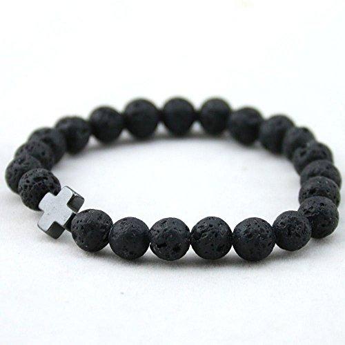 (HuntGold 1 PC Men's Hematite Cross-Shaped Lava Stone Beads Stretchable Charming Bracelet )