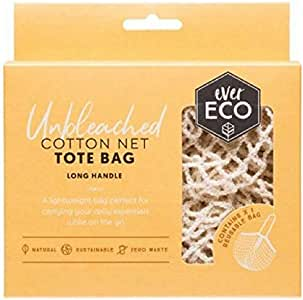 Ever Eco Unbleached Cotton Eco Friendly Reusable Net Tote Bag with Long Handle