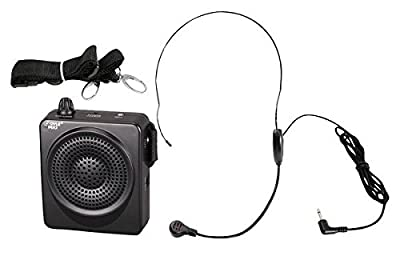 PYLE-PRO PWMA50B 50 Watts Portable Waist-Band Portable PA System with Headset Microphone, Rechargeable Batteries (Color Black)