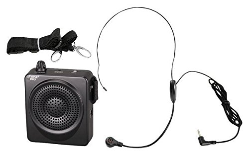 Portable PA Speaker Voice Amplifier - Built-in Rechargeable Battery w/ Headset Microphone Hands-free Waist-Band Strap & Aux 3.5mm Jack for External Audio Stream Devices - Pyle PWMA50B System 50w Amp