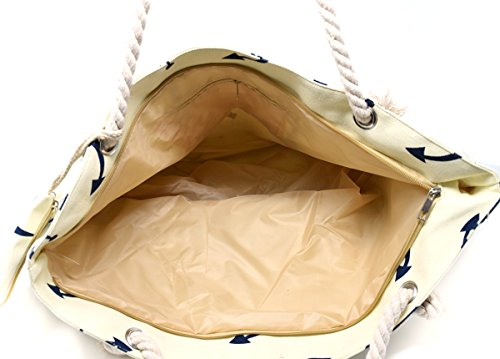 Large nautical anchor rope handle canvas tote beach bag for Large nautical rope