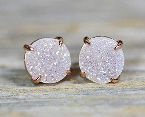 White Druzy Gemstone Prong Set Stud Earring- Rose Gold- Round- 8mm- Gift Idea