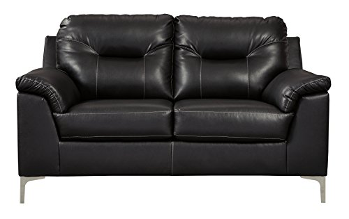 Ashley Furniture Signature Design - Tensas Contemporary Upholstered Loveseat - Black