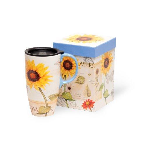 Sunflowers Latte Travel Mug 17oz (Ceramic Latte Travel Mug)