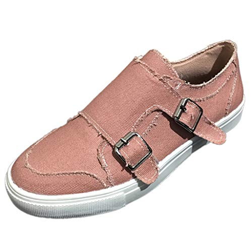 ♡QueenBB♡ Women Loafers Vintage Out Shoes Round Toe Platform Flat Heel Buckle Strap Casual Canvas Walking Shoes Pink
