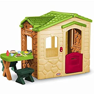 Little Tikes Picnic on The Patio Playhouse Natural: Amazon ...