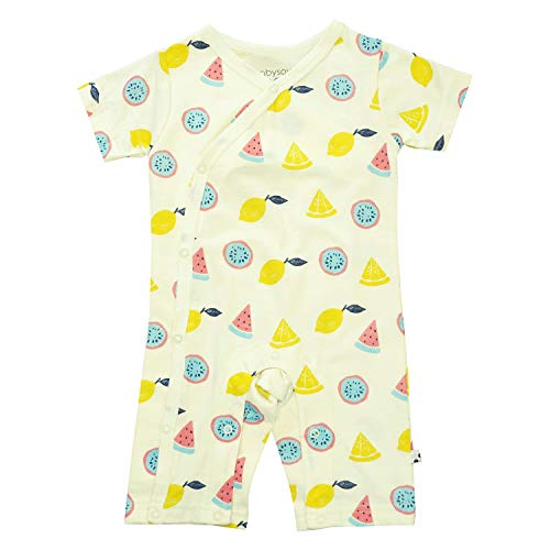 Babysoy Short Sleeve Organic Pattern Kimono Romper Shortall (0-3 Months, Fruits) ()