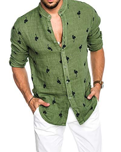 Mens Hawaiian Shirts Flamingo Print Linen Summer Beach Aloha Button Down Long Sleeve Shirts