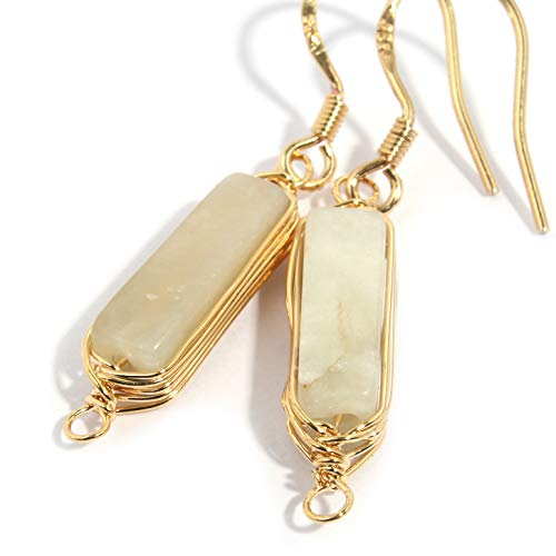 Natural Stone Wire Wrap Dangle Drop Earrings Gold Plated 925 Sterling Silver Hook/White Agate 14mm Bar