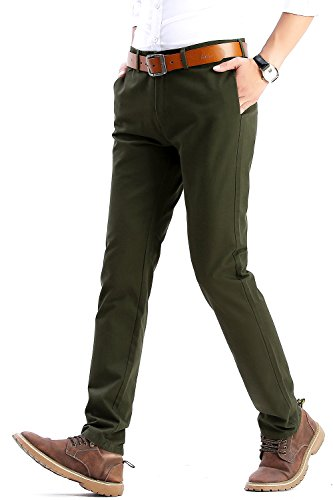 INFLATION Mens Slim Tapered Stretch Flat Front Casual Pants 100% Cotton Dress Pants Trousers for Men,22 Color Choices,Green Pants Size - Stretch Flat Front Trousers
